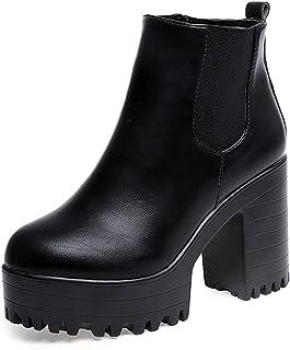 Calzado de Mujer, Plataformas de tacón Cuadrado Cuero Muslo Alta Botas de la Bomba Zapatos