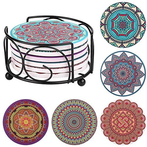 Untersetzer Keramik - Satawit 6er Set Dekorative Runden Getränk Untersetzer Mit Korkboden fur Bechern und Tassen Zuhause Küche Büro, Inklusive haltbarer Metallhalterung