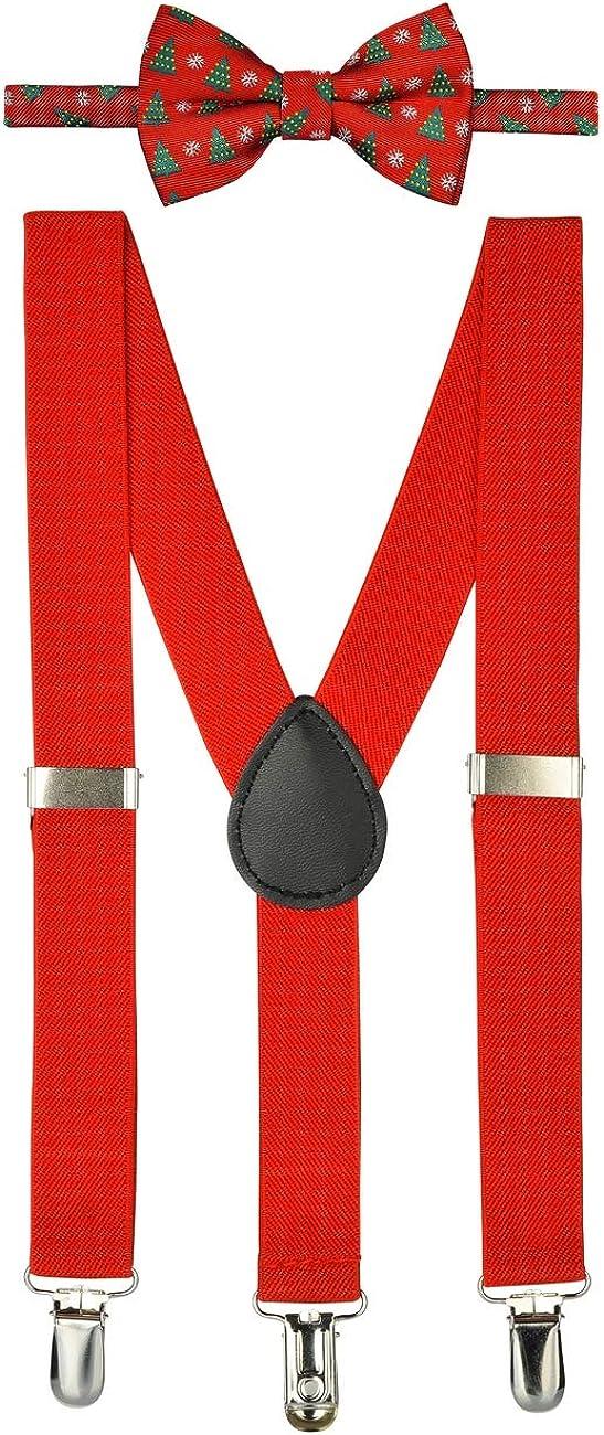 Retreez Boy's Suspender Bow Tie Set Christmas Tree & Snowflakes Pre-Tied Bow Tie