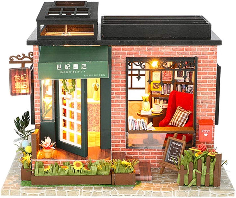 de moda Kit de casa de muñecas en miniatura miniatura miniatura DIY Diy House Century Bookstore Cubierta hecha a mano Modelo ensamblado Villa Regalo de cumpleaños creativo Juguetes de madera Casa de muñecas de madera con muebles  los nuevos estilos calientes