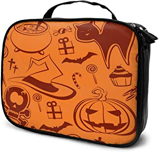 Cosmetic Bag Halloween Pattern Orange Travel Makeup Bag Anti-wrinkle Cosmetic Case Multi-functional Storage Bag Large Capacity Makeup Brush Bags Travel Kit Organizer Women's Travel Bags