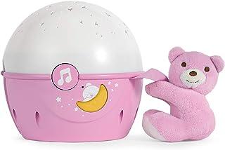 Chicco Next2Stars Nachtlicht Baby Sternenhimmel Projektor mit Plüschtier - Sternenlicht Projektor für Babybettchen, Nachtlicht mit Soundsensor, 3 Lichteffekte und Musik - 0 Monate, Rosa