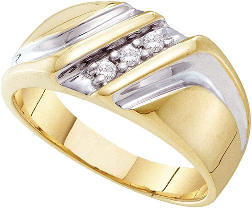 FB Jewels 10kt Yellow Two-tone Gold Mens Round Diamond Wedding Anniversary Band Ring 1/10 Cttw (I2-I3 clarity; J-K color)