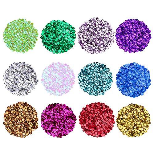 Naler 6000 Pailetten Bunt zum Aufähen DIY Basteln - Ø 6mm, 12 Farben