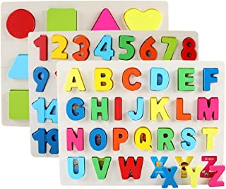 SkGoodCow Puzzles for Toddlers 3 Piece Wooden Peg Puzzle Set Alphabet ABC Numbers Shapes Jigsaw Toy Puzzles for Kids Learning Letters Number Shape Board for Toddlers Ages 3+