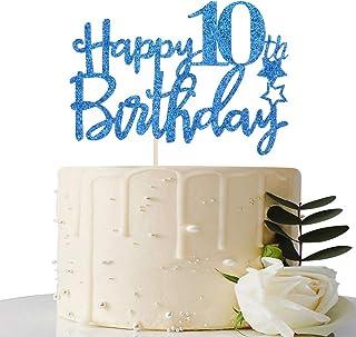 Royal Blue Glitter Happy 10th Birthday Cake Topper - 10 Cake Topper - 10th Birthday Party Supplies - 10th Birthday Party D...