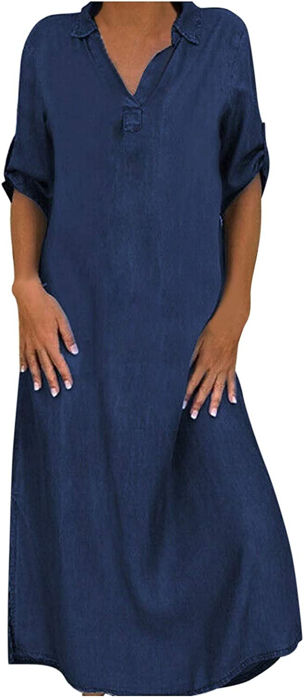 SSDXY Maxi Dresses for Women Casual Summer Denim Dress V Neck Side Split Short Roll Sleeve Loose Long T Shirt Dress