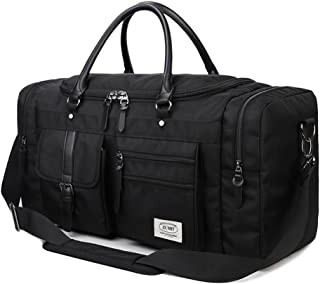 ZUMIT Travel Duffel Bag Square Black Business Weekend Tote Bag Gym Sports Holdall Bag Water-resistant Luggage Bag 45L 60L #806