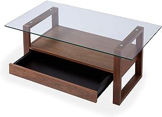 【5%OFF価格!9/26 00:00~9/27 23:59】 LOWYA テーブル コーヒーテーブル リビングテーブル ガラステーブル 幅110 ウォルナット