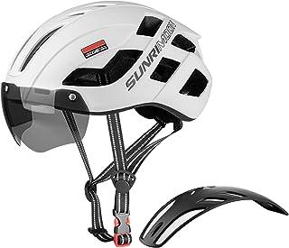 کلاه دوچرخه سواری بزرگسالان کلاه دوچرخه سواری مردان بزرگسال کلاه های دوچرخه سواری قابل تنظیم با USB با چراغ عقب قابل شارژ و عینک مغناطیسی قابل جدا شدن و پنل 3 در 1 برای کلاه دوچرخه سواری کوهستان و جاده