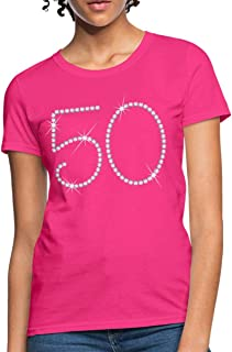 50th Birthday Printed Rhinestones Women's T-Shirt