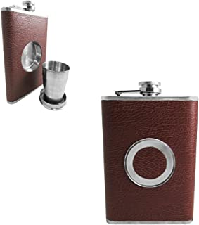 Shot Flask - Stainless Steel 8 oz Hip Flask, Built-in Collapsible 2 Oz. Shot Glass & Flask Funnel - Shots on the Go! (Dark Brown)