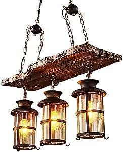 Industrial Lámpara colgante vintage Araña Colgante de madera E27 Zócalo para sala de estar Comedor Restaurante Cafe Hotel Pasillo Bodega Sótano Decoración Lámpara colgante Lámpara de mesa de comedor