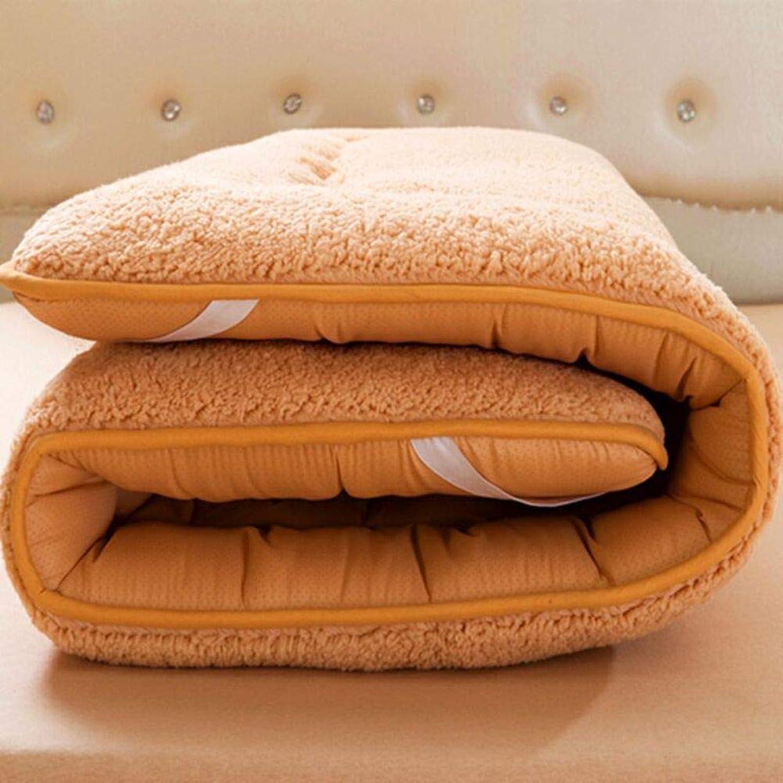 Plush Thicken Mattress Foldable Cushion mats with Elastic Straps Futon Non-Slip Mattress Topper Keep Warm Comfortable Tatami Floor mat Breathable Sleeping pad-Light tan 90x200cm(35x79inch)
