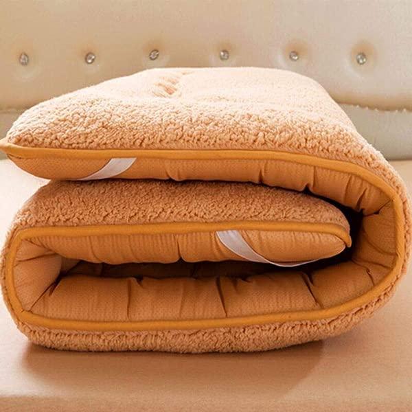 GX XD Plush Thicken Mattress Foldable Cushion Mats With Elastic Straps Futon Non Slip Mattress Topper Keep Warm Comfortable Tatami Floor Mat Breathable Sleeping Pad Light Tan 90x200cm 35x79inch