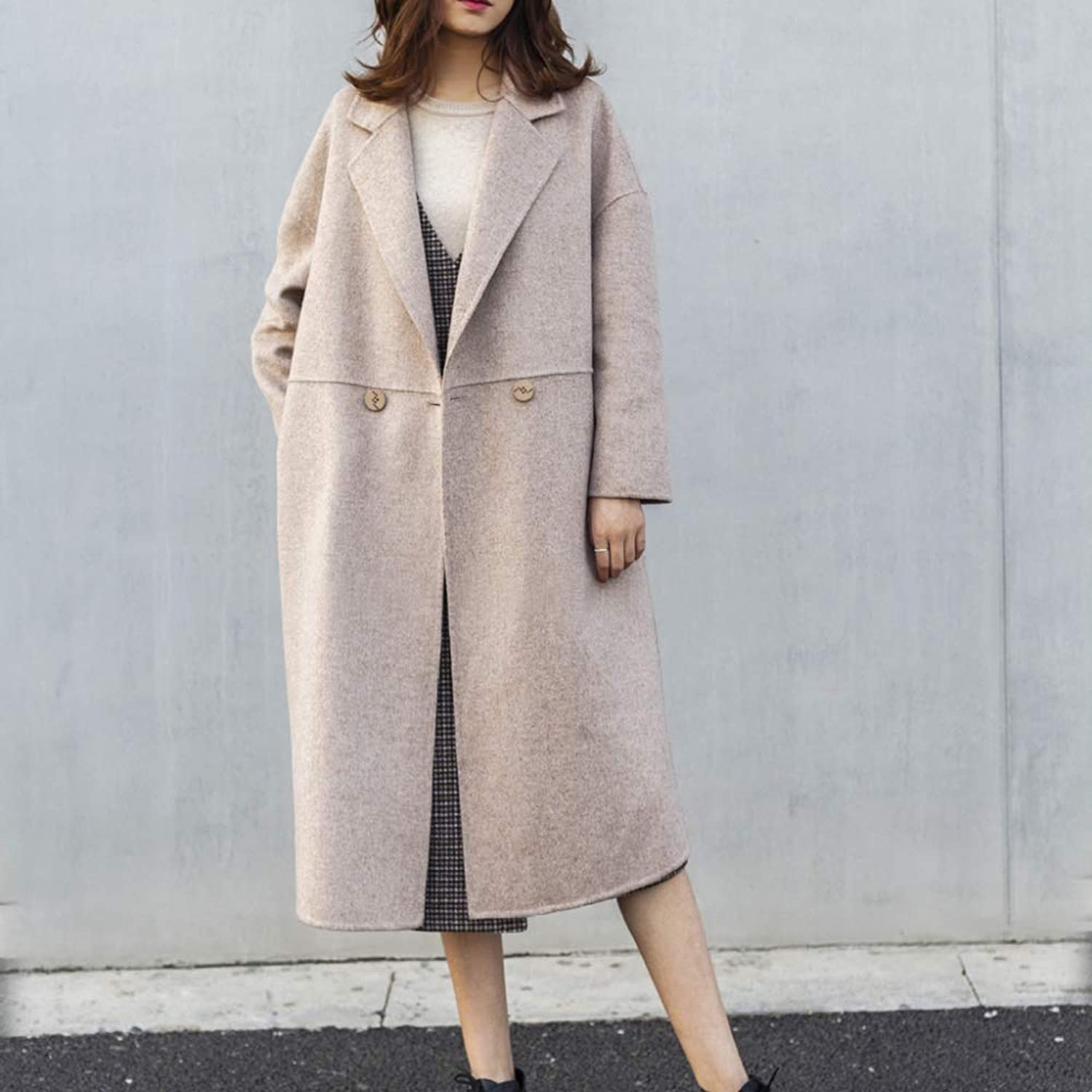 Overcoat for Women Winter, Simple Loose Casual DoubleFaced Woolen Cashmere Warm Coat,BeigeS