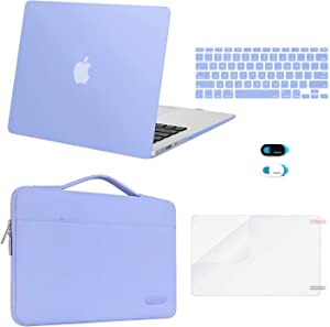MOSISO Compatible with MacBook Air 13 inch Case (A1369 A1466, Older Version 2010-2017 Release), Plastic Hard Shell Case & Sleeve Bag & Keyboard Cover & Webcam Cover & Screen Protector, Serenity Blue