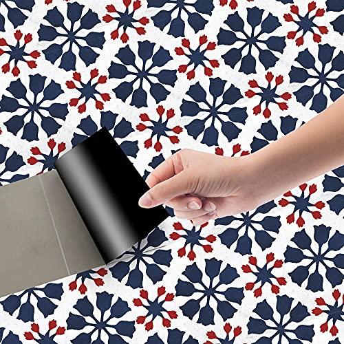 Azulejos Adhesivos Rojo Azul MarinoVinilosCocinaAzulejosAntisalpicadurasVinilosBañoAzulejosImpermeableVinilosdeparedDecorativosPinturaparaAzulejosAdhesivodePared 20x100cm/3pcs