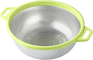Stainless Steel Colander With Handle and Legs, Large Metal Green Strainer for Pasta, Spaghetti, Berry, Veggies, Fruits, No...