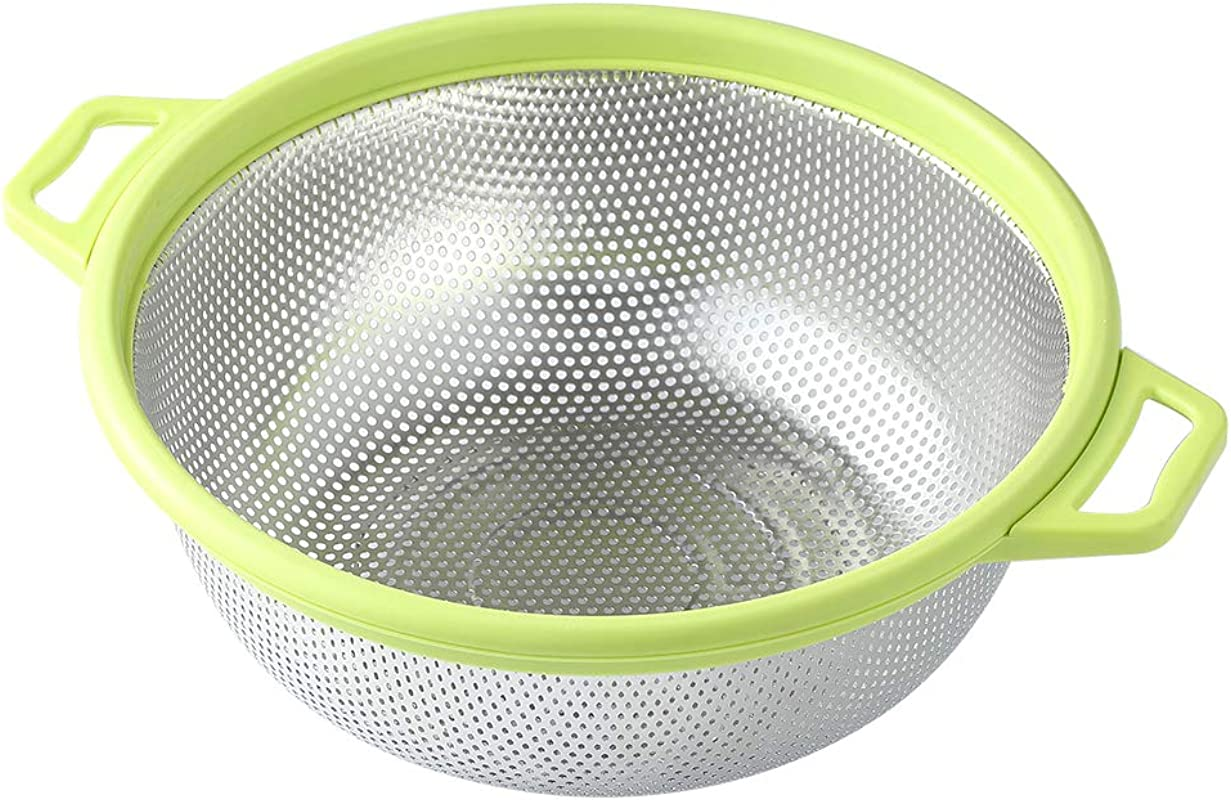 Stainless Steel Colander With Handle And Legs Large Metal Green Strainer For Pasta Spaghetti Berry Veggies Fruits Noodles Salads 5 Quart 10 5 Kitchen Food Mesh Colander Dishwasher Safe