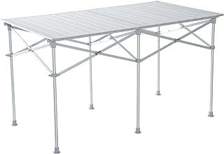 Outsunny Mesa Plegable Portátil Aluminio para Camping, Terraza, Jardín, Playa o Picnic con Bolsa para Transportar