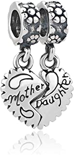 Q&Locket 925 Sterling Silver Mother Daughter Charms Flower Matching Heart Love Family Charm for Bracelets