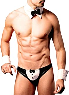 hunpta Sexy Men Mankini Thong Waiter Costume Cosplay Lingerie Bow Tie Underwear Set