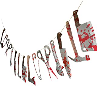 FRIDAY NIGHT Halloween Scary Bloody Weapon Garland Banner Decorations Halloween Zombie Vampire Party Decorations Supplies