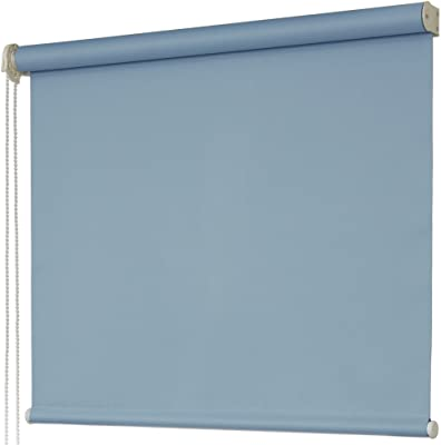 1級遮光 ロールスクリーン 防炎 幅60×丈180cm 左操作 サックスブルー
