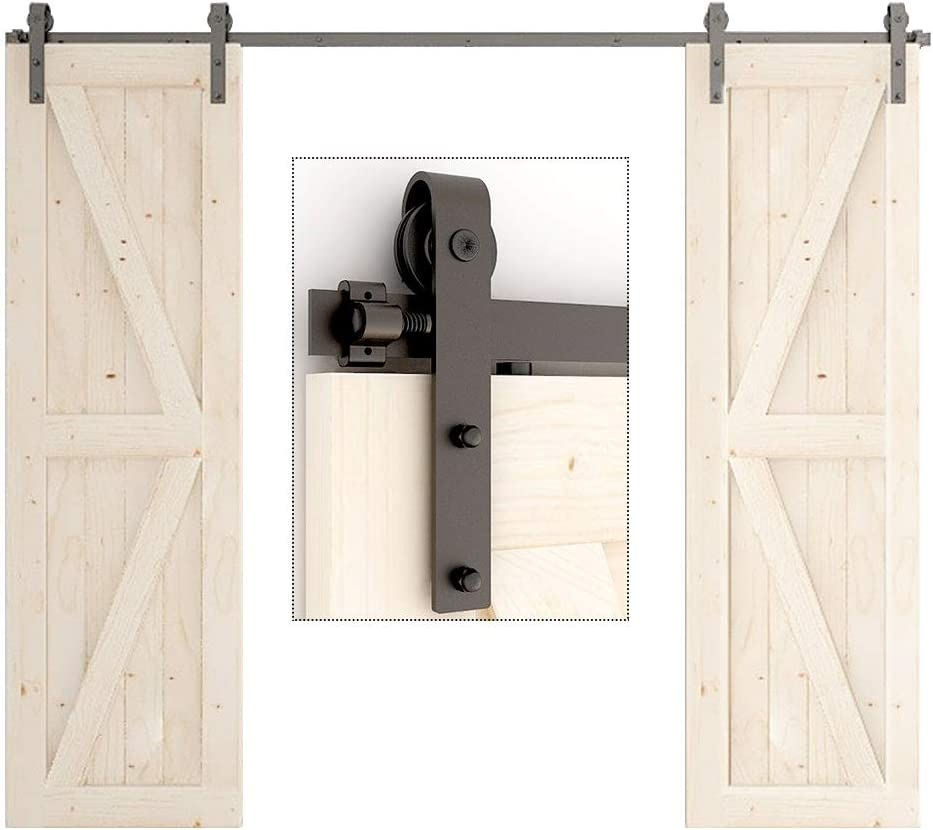 TSMST 10FT Sliding Barn Door Hardware Duty Max 65% OFF Bar Heavy Kit Sturdy Seattle Mall
