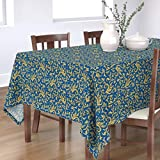 Roostery Tablecloth, Gryphon Griffin Blue and Gold Mythology Medieval Scrollwork Dragons Print, Cotton Sateen Tablecloth, 70in x 108in