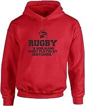 Brand88 Rugby,A Hooligans Sport Played by Gentlemen, Kids Printed Hoodie - Fire Red/Black 5-6 Years