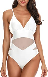 Women Sexy One Piece Monokini Swimsuits V Neck Mesh Cutout Open Back Bathing Suit