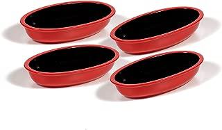 Ovenex 24 oz Ceramic Cookware Set by Xtrema - Oval Baking & Serving Dish Set - 4 Pack, 24 oz - Firebrick Red
