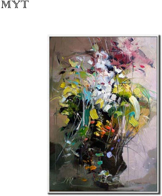 Venta en línea de descuento de fábrica MYT 100% Pintado a Mano Flores de Color Abstracto Pintura Pintura Pintura al óleo sobre Lienzo Sala de decoración de la Parojo del hogar sin Marco  buscando agente de ventas