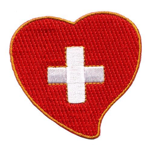 Schweiz Herz Switzerland Heart Bern Flag Flagge Patch Aufnäher Aufbügler 0614