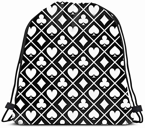DHNKW Drawstring Backpack String Bag 14X16 Green Las Black Play White Four Luck Pattern Blackjack Form Spade Table Hand Ace Casino Chance Quads Suit Sport Gym Sackpack Hiking Yoga Travel Beach