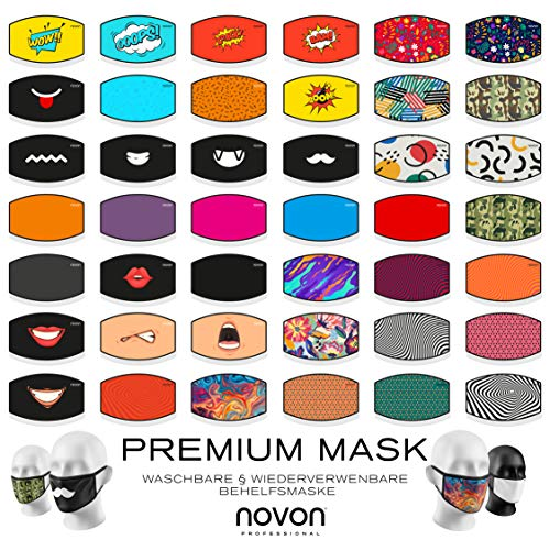 3 er Pack Behelfsmundschutz Mundbedeckung Mund Maske Behelfsmaske Staubmaske Mundschutz Gesichtsmaske Waschbar und wieder Verwendbar by Novon Professional - Model 38