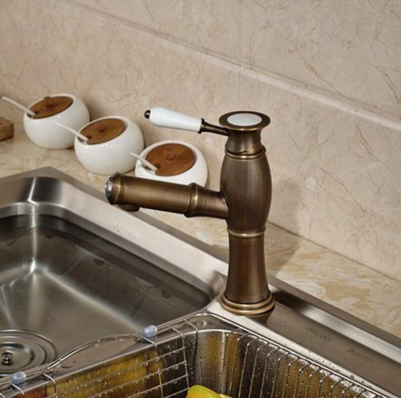 360° redating Faucet Retro Faucet Kitchen Faucet Brass Antique Pull Out Kitchen Sink Faucet