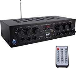 Upgraded 2018 Wireless Bluetooth Karaoke - 6 Channel 750 Watt Home Audio Sound Power Stereo Receiver Amplifier w/ USB, Headphone, 2 Microphone Input w/ Echo, Talkover for PA - Pyle PTA62BT