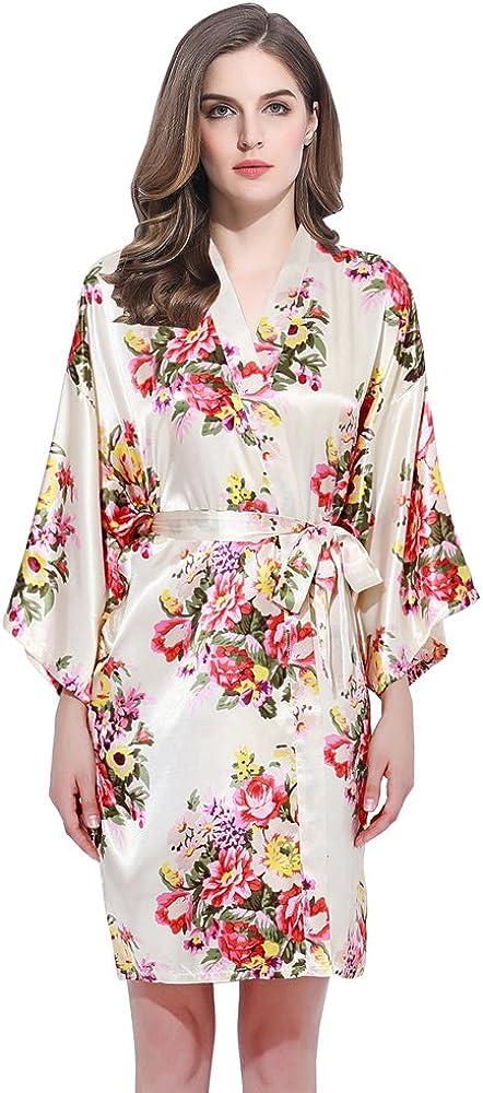 Floral Fashionable Satin Bridal Robes - B Choice Silk Gown Dressing Robe
