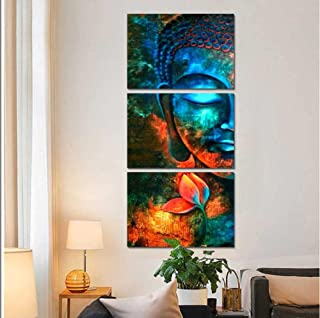 Plamc Canvas Wall Art Pictures Home Decor Living Room 3 Pieces Abstract Blue Buddha Portrait Paintings Printed Flower Post...
