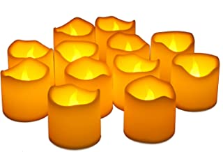 Furora LIGHTING Flameless LED Tea Lights Candles - Battery Operated Votives Candles Wave Open Style with Realistic Flickering Flame Best for Wedding, Party and Holiday Decoration Ideas - Pack of 12