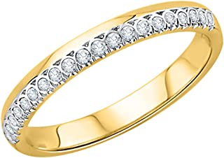 Size-6.25 G-H,I2-I3 Diamond Wedding Band in 10K Yellow Gold 1//6 cttw,