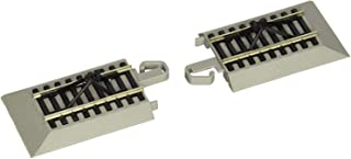 Bachmann Trains - Snap-Fit E-Z Track Hayes Bumpers (2/Card) - Nickel Silver Rail with Gray Roadbed - HO Scale