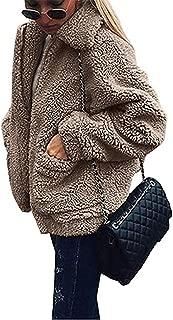 Women's Coat Casual Lapel Fleece Fuzzy Faux Shearling Zipper Coats Warm Winter Oversized Outwear Jackets