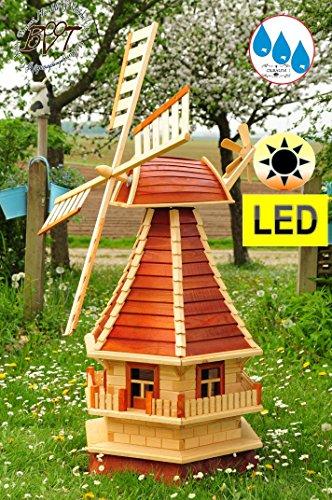 Große Holz-Windmühle, NEU-Gartenwindmühle MODERN 130 cm, VOLLHOLZ einstöckig KLASSIK MIT BALKON-Rand WMS-RA130-he-MS Fenster, voll funktionstüchtig,schöne Details, moosgruen Fensterkreuz Deko-Windmüh