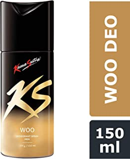 KamaSutra Woo Deodorant for Men | Long Lasting Natural & Leathery Fragrance | Suitable for Sensitive Skin | Deodorant for Gym and Party Enthusiasts | Energetic & Refreshing Body Spray | Aerosol Series, 150ml