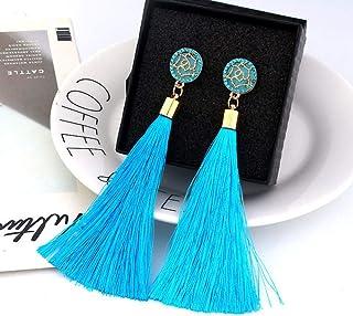 OETY Bohemian Crystal Tassel Earrings Black White Blue Red Pink Silk Fabric Long Drop Dangle Tassel Earrings For Women Jewelry