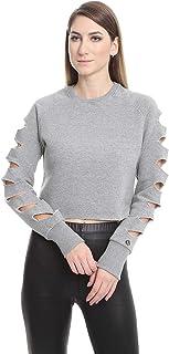 U Athleisure Ribbed Trims Crew Neck Ladder Cut-out Raglan Sleeve Cropped Sweatshirt for Women